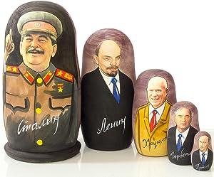 Russian Nesting Doll - Russian Leaders: Lenin - Hand Painted in Russia - Traditional Matryoshka Babushka (Russian Leaders: Stalin, 6.75``(5 Dolls in 1))