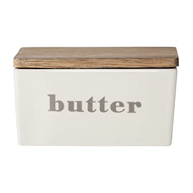 Bloomingville A21109494 Butter Box with Bamboo Lid, Gray