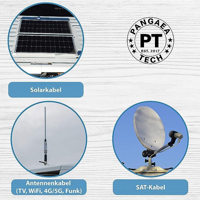 Pangaea Tech - Pasamuros de techo solar para autocaravana, barco y caravana - Pasacables impermeable para sistema solar, satélite y aire acondicionado