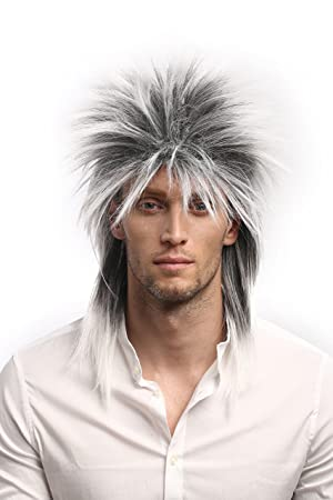 WIG ME UP ® - 90891-ZA60TZA1 Peluca Mujer Hombre 80 Carnaval Wave Punk Popstar