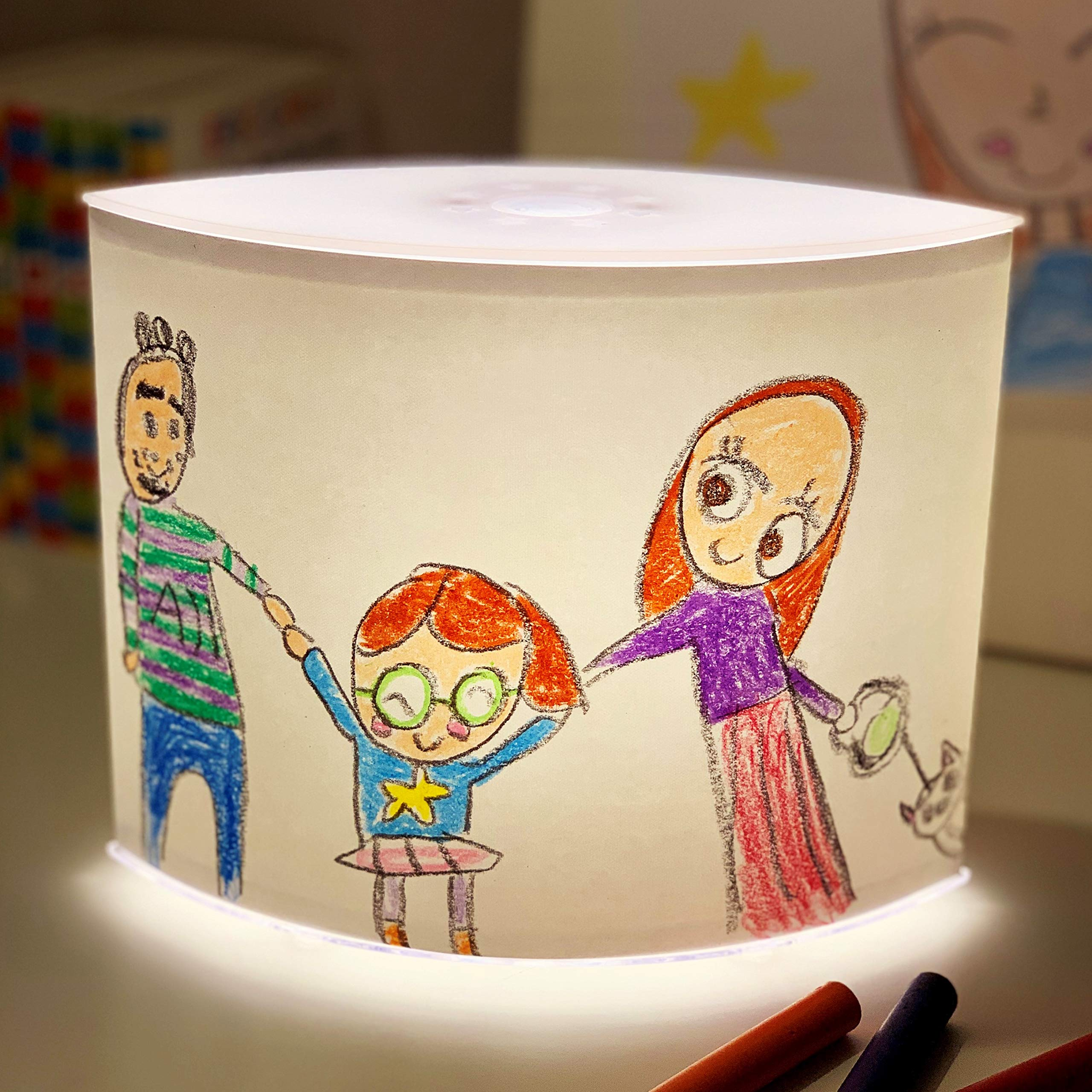 DIY 3-Stage Dimmer Table Lamp - Child Artwork Display NightStand Nightstand for Bedrooms & Living Rooms, Bedside Lights Lampshade Kit, Kid's Art Drawing and Photos for Customized Gift Ideas! by Greego Lamp
