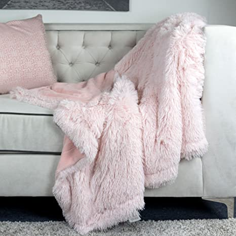 950120071c Amazon.com  Homey Cozy Faux Fur and Flannel Pink Throw Blanket ...