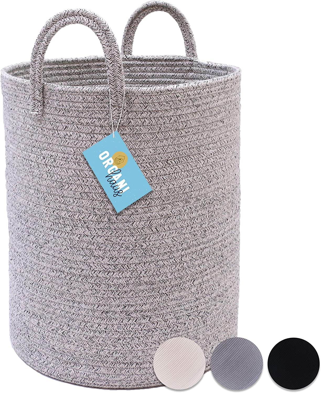 "OrganiHaus Plain Color Cotton Rope Storage Baskets for Laundry and Decorative Blankets (Large (15""x18""), Mixed Grey)"