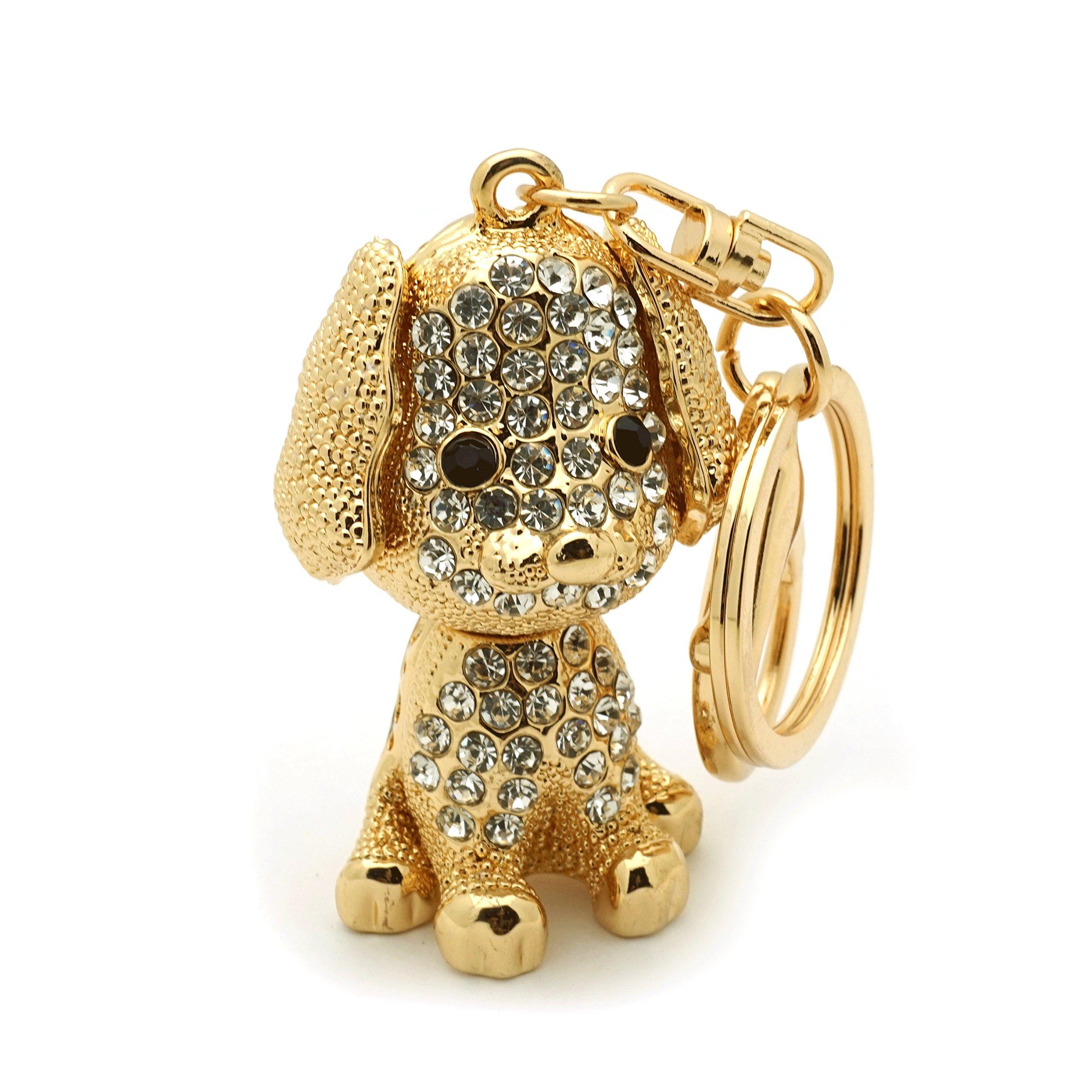 Teri's Boutique Dog Puppy Lover Great Gift Rhinestone 3D Women Kids Charm Keychain (Gold)