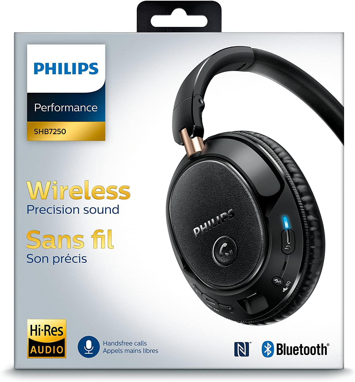 Philips SHB7250 - Auriculares Bluetooth inalámbricos con NFC (cable, almohadillas suaves, totalmente plegable) color negro: Amazon.es: Electrónica