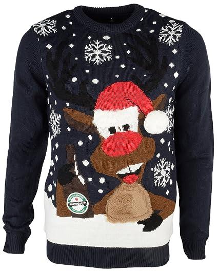 Christmas Jumper LED Light Up Brudolph Novelty Xmas Knit Sweater ...