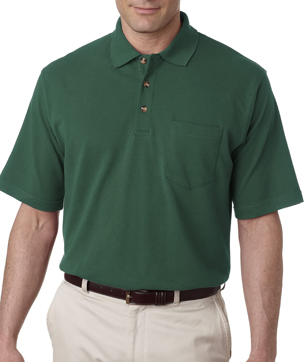 UltraClub Men's Classic Pique Polo Short Sleeve Shirt with Pocket ...