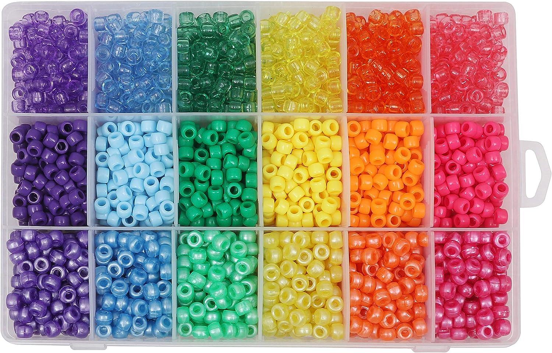Kurtzy Variado Pony Abalorios (2300 Piezas) - 6mm, de Colores Abalorios de Manualidades Set con Estuche Organizador - Plástico Transparente Abalorios Para Cuentas, Collares, Llaveros y Hacer Joyas