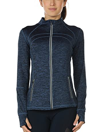 icyzone Women s Running Shirt Full Zip Workout Track Jacket with Thumb Holes f6063747135