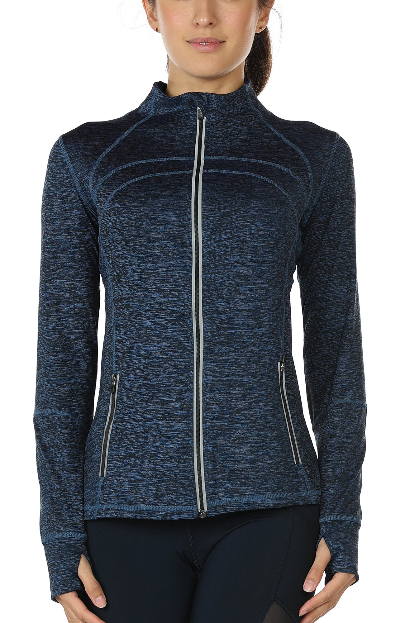 icyzone Women's Running Shirt Full Zip Workout Track Jacket with Thumb Holes (L, Royal Blue)