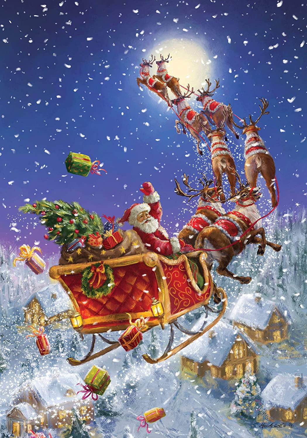 Custom Decor Santa Sleigh - Garden Size, Decorative Double Sided, Licensed and Copyrighted Flag - Printed in The USA Inc. - 12 Inch X 18 Inch Approx. Size