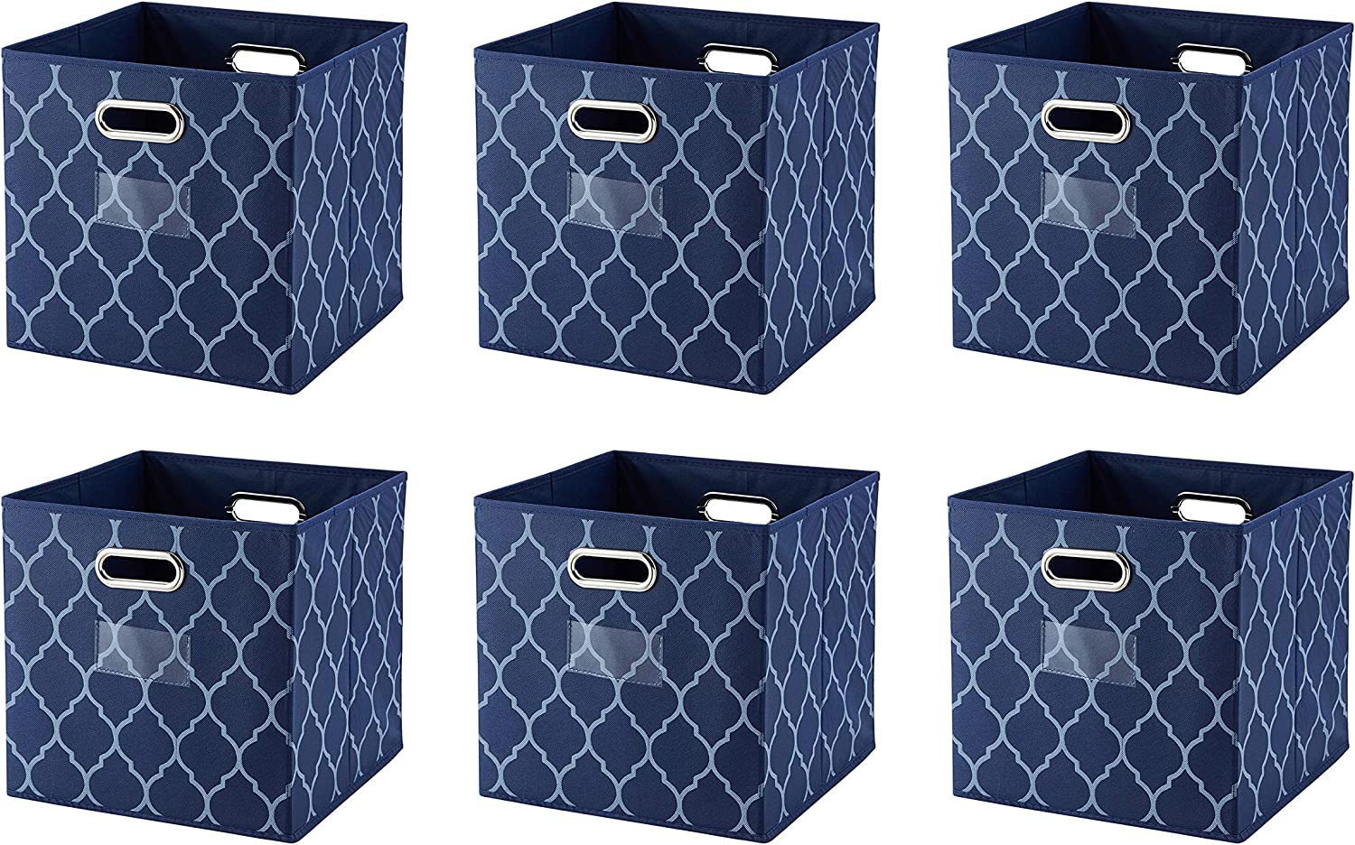 Ornavo Home Foldable Storage Bins Basket Cube Organizer with Dual Handles and Window Pocket - 6 Pack - 12