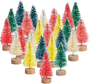 VIOCIWUO Multicolor Mini Sisal Trees, Bottle Brush Christmas Tree Plastic Winter Snow Tabletop Trees for Holiday Party Displaying DIY Room Decor Table Top Christmas Decoration 24pcs