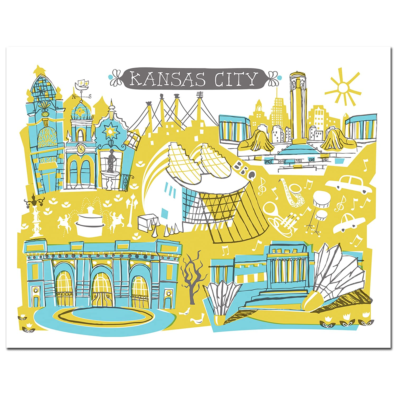 Amazon.com: Kansas City Art, Kansas City Gifts Featuring 5 of the ...