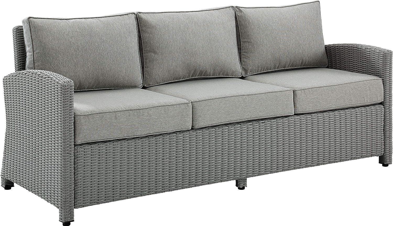 Crosley Furniture KO70049GY-GY Bradenton Outdoor Wicker Sofa, Gray with Gray Cushions