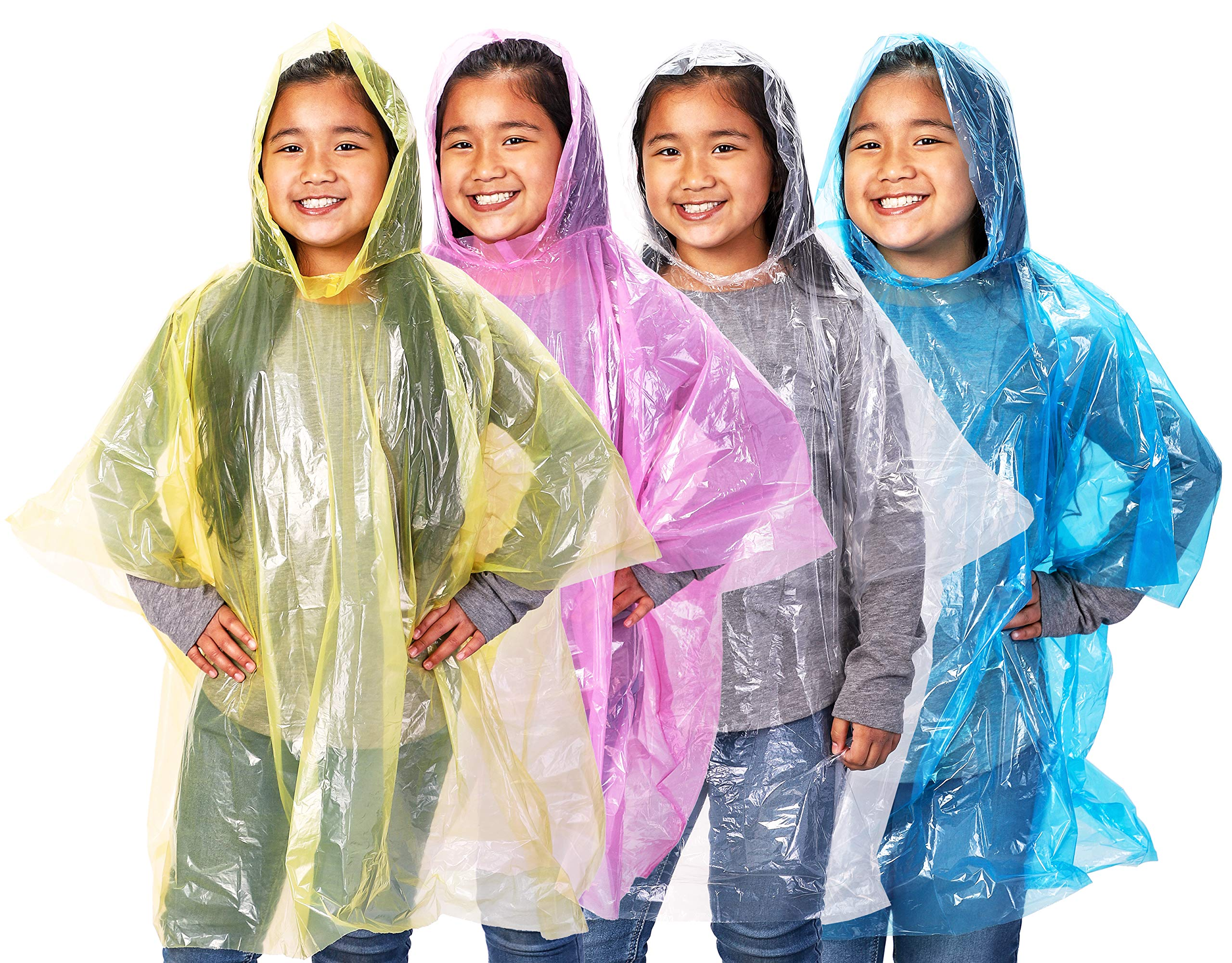 Juvale 48-Pack Kids Disposable Emergency Rain Ponchos with Hood, 4 Assorted Colors by Juvale