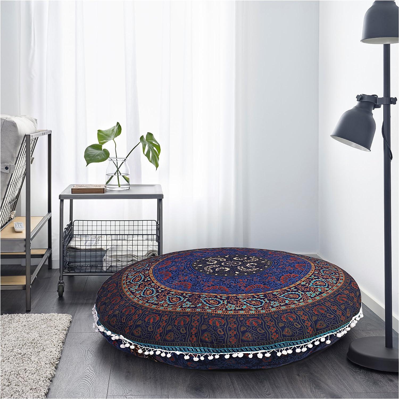 "Large Mandala Pillowcases 32"" Decorative Throw Round Floor Cushions Indian Pouf Ottoman Roundie Boho Pillow Shams Pom Pom Outdoor Cushion Cover Gokul Handloom GHC00006"