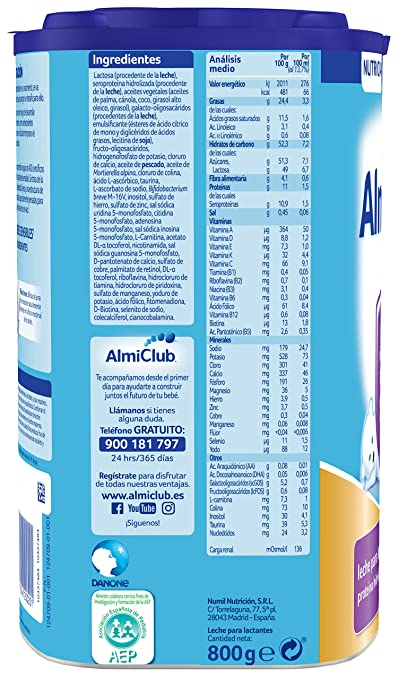 Almirón Prosyneo 1 Leche de inicio en polvo a partir del primer día - 800 gr: Amazon.es: Alimentación y bebidas