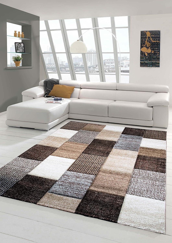 Designer Teppich Moderner Teppich Wohnzimmer Teppich Kurzflor Teppich mit Konturenschnitt Karo Muster Braun Grau Cream Taupe Größe 80x150 cm