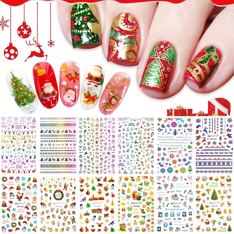 Kalolary 12 Sheets Christmas Nail Art Stickers 3D Self-Adhesive Nail Decals, Santa Claus Tree Decals Manicure Decoration for Women Girls Kids Fingernails Toenails Decor