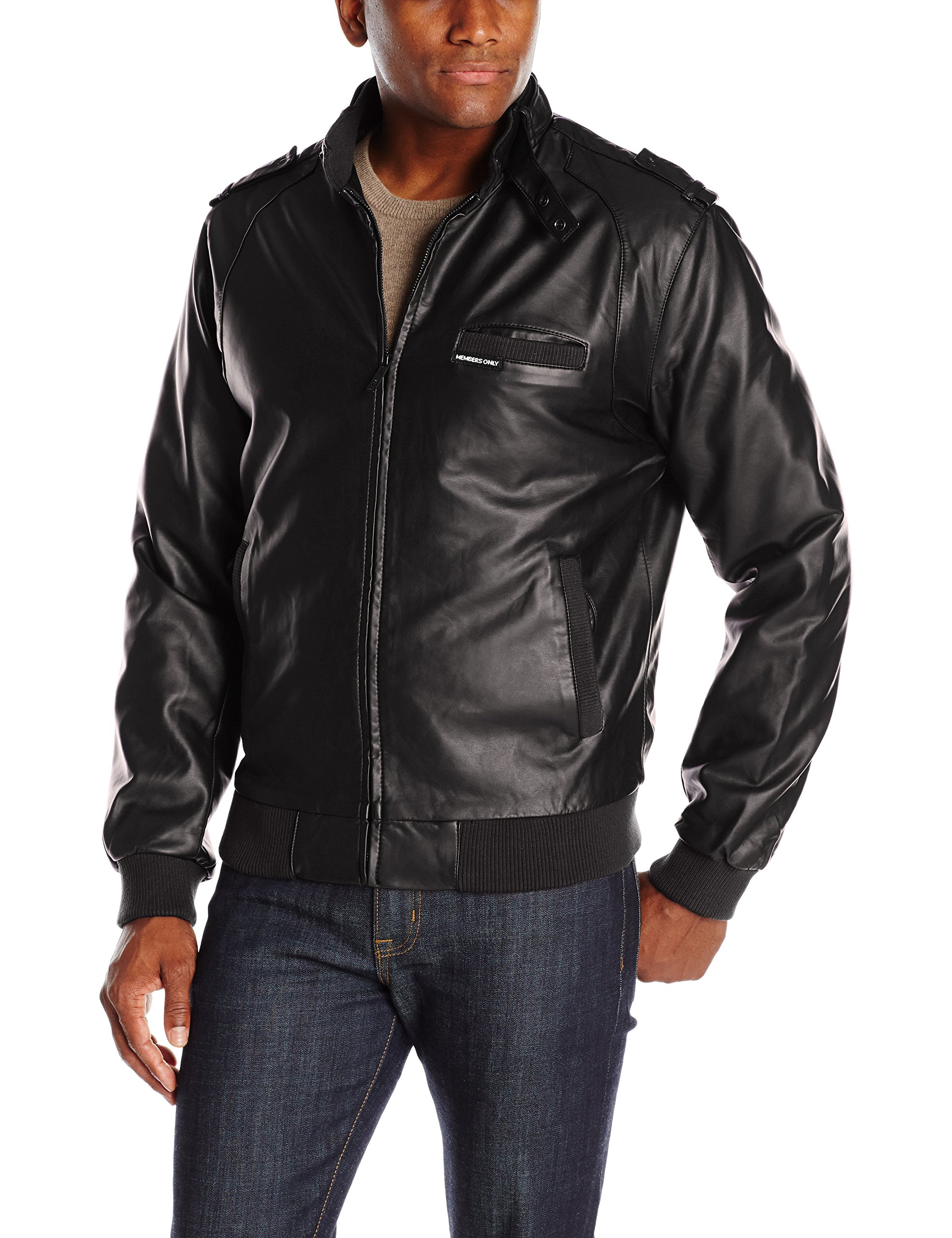Members Only Men's Original Leather Iconic Racer Jacket, Black, S by Members Only