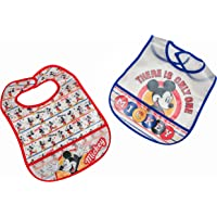 Disney Mickey Mouse 2Piece Printed Frosted Water Proof Peva Bib, Crumb Catcher Pocket