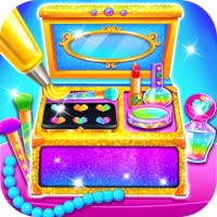 Makeup Kit Cake Maker - Girls Rainbow Glitter Makeup Baking Salon Games