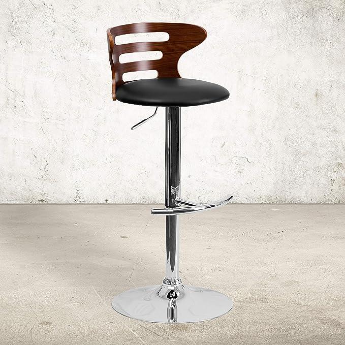 Flash Furniture Walnut Bentwood Adjustable Height Barstool With Three Slot Cutout Back And Black Vinyl Seat Furniture Decor