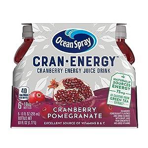 Ocean Spray, CranEnergy, Cranberry Pomegranate Energy Juice Drink, 10 Ounce Bottles (6 Bottles Total)