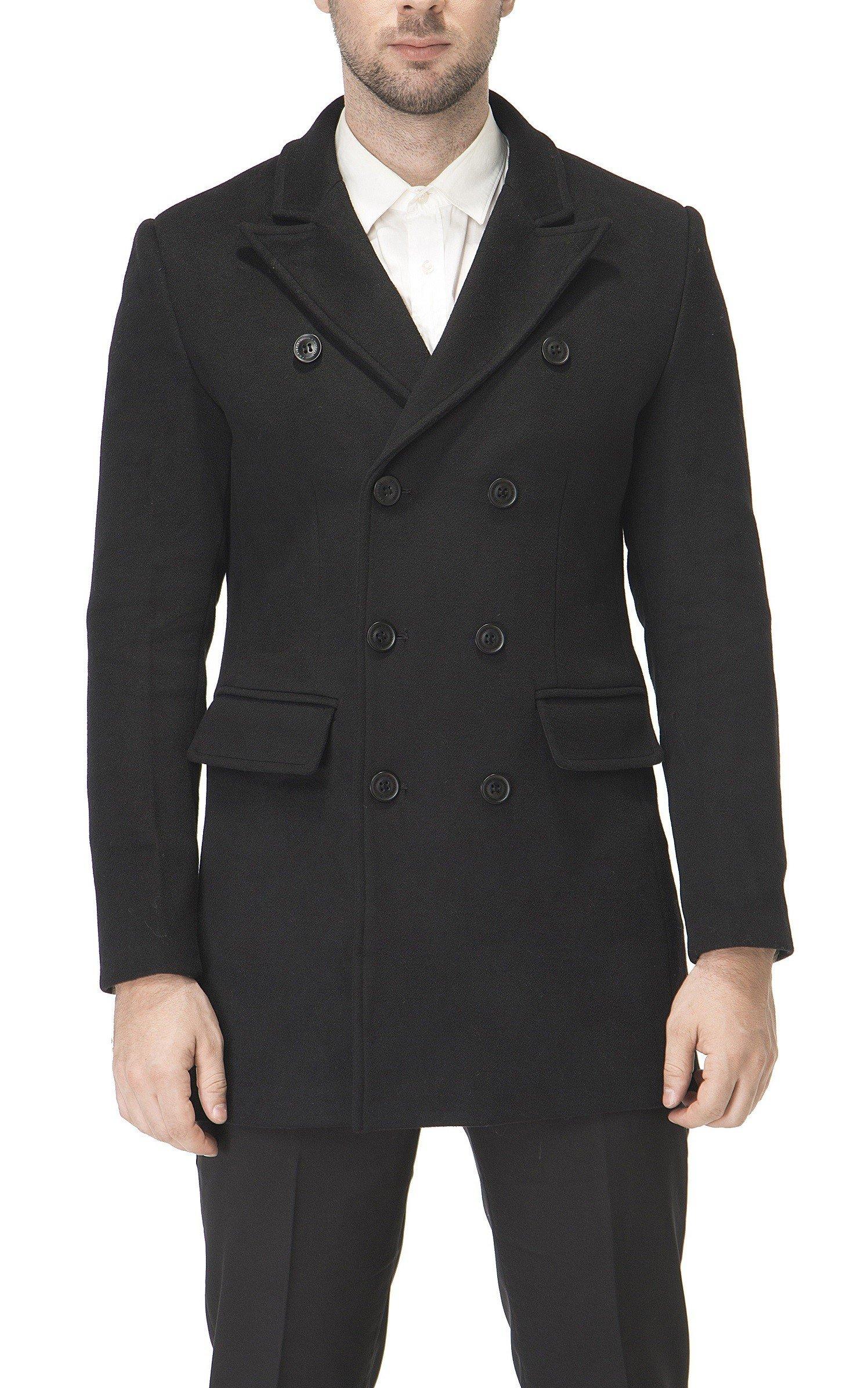 Men's Premium Wool Blend Double Breasted Long Pea Coat (Black, Medium)