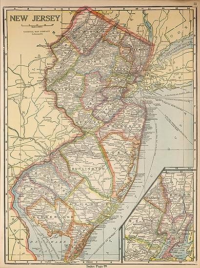 Amazon.com: VintPrint Map Poster - New Jersey - 24\