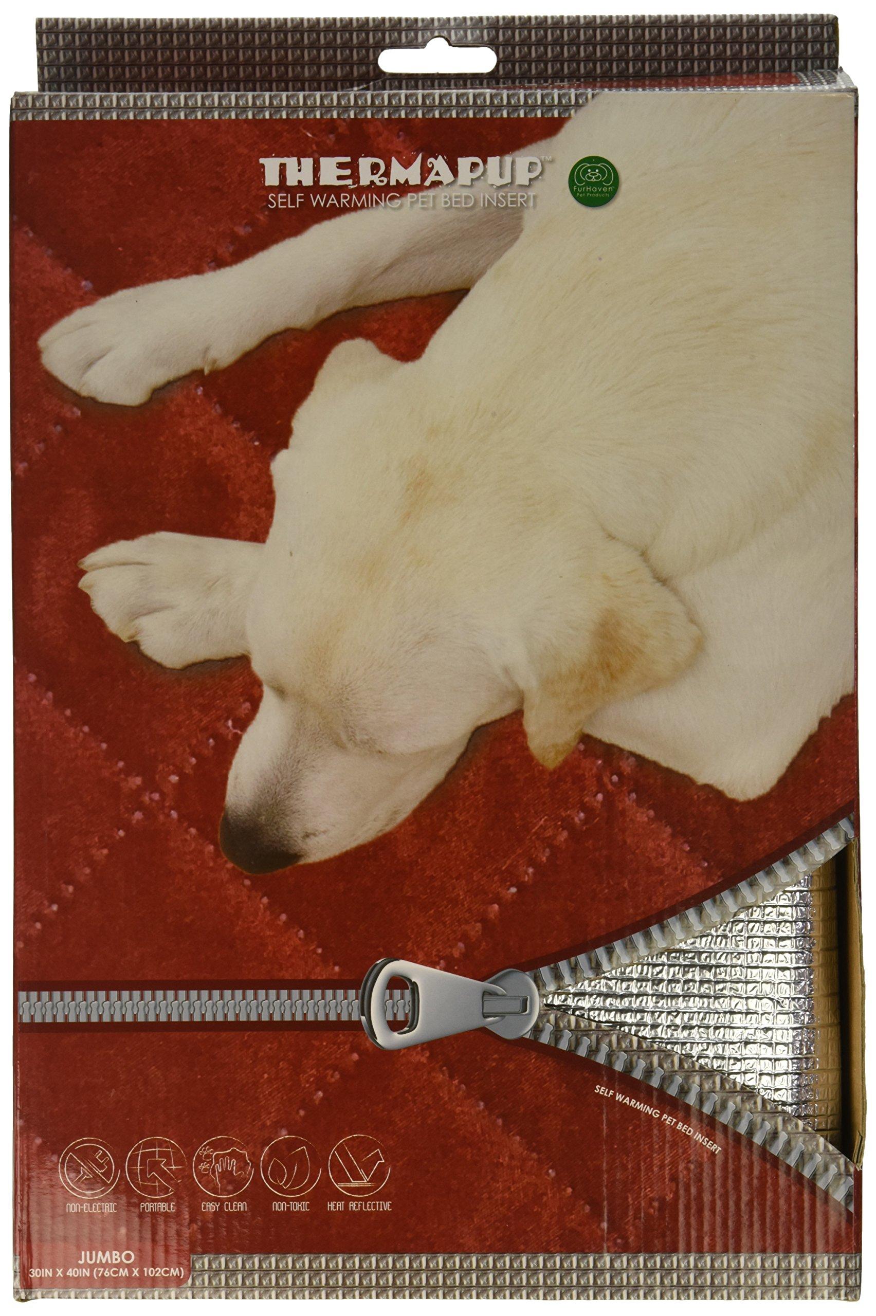 FurHaven Pet Heating Pad | ThermaPup Self-Warming Pad, Silver, Jumbo