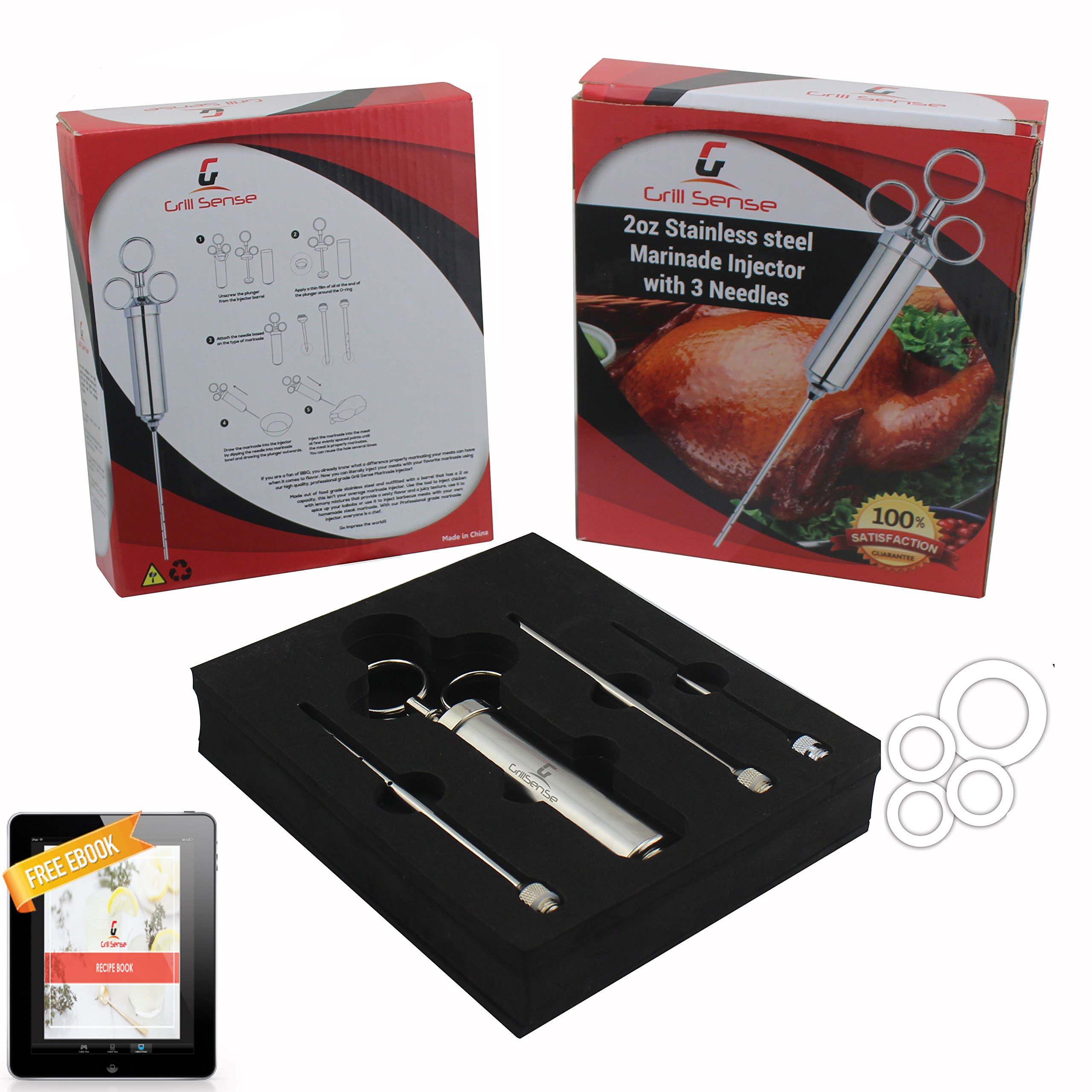 Grill Sense 304 Stainless Steel Meat Injector Kit with 2-oz Large Capacity Barrel and 3 Professional Marinade Needles by Online Promotion