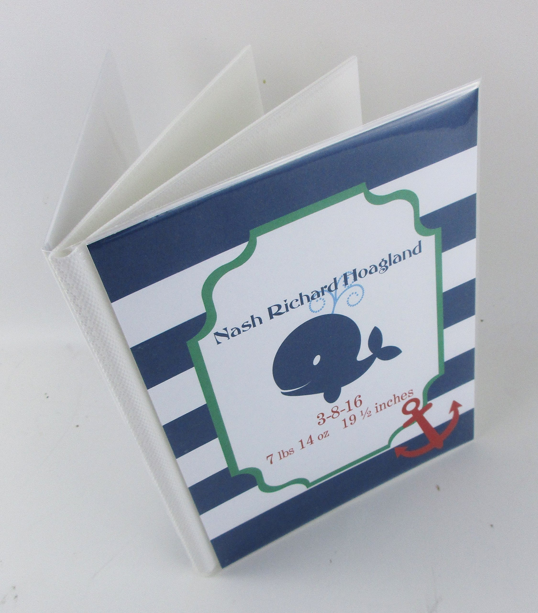 Baby Photo Album IA#540 4x6 or 5x7 Pictures Personalized Nautical Whale Photo Book- Baby Boy Shower Gift Ahoy Baby Theme