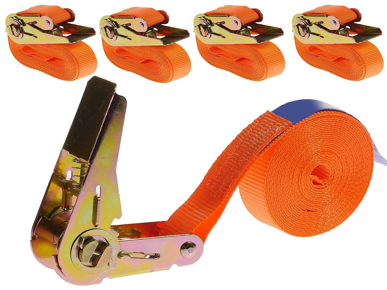 Industrie PLANET Set of 4/Lashing Straps with Ratchets 800kg 4/m 1-Piece 1/Piece Ratchet Straps Lashing Straps 25/mm Orange 800/daN 0,8t