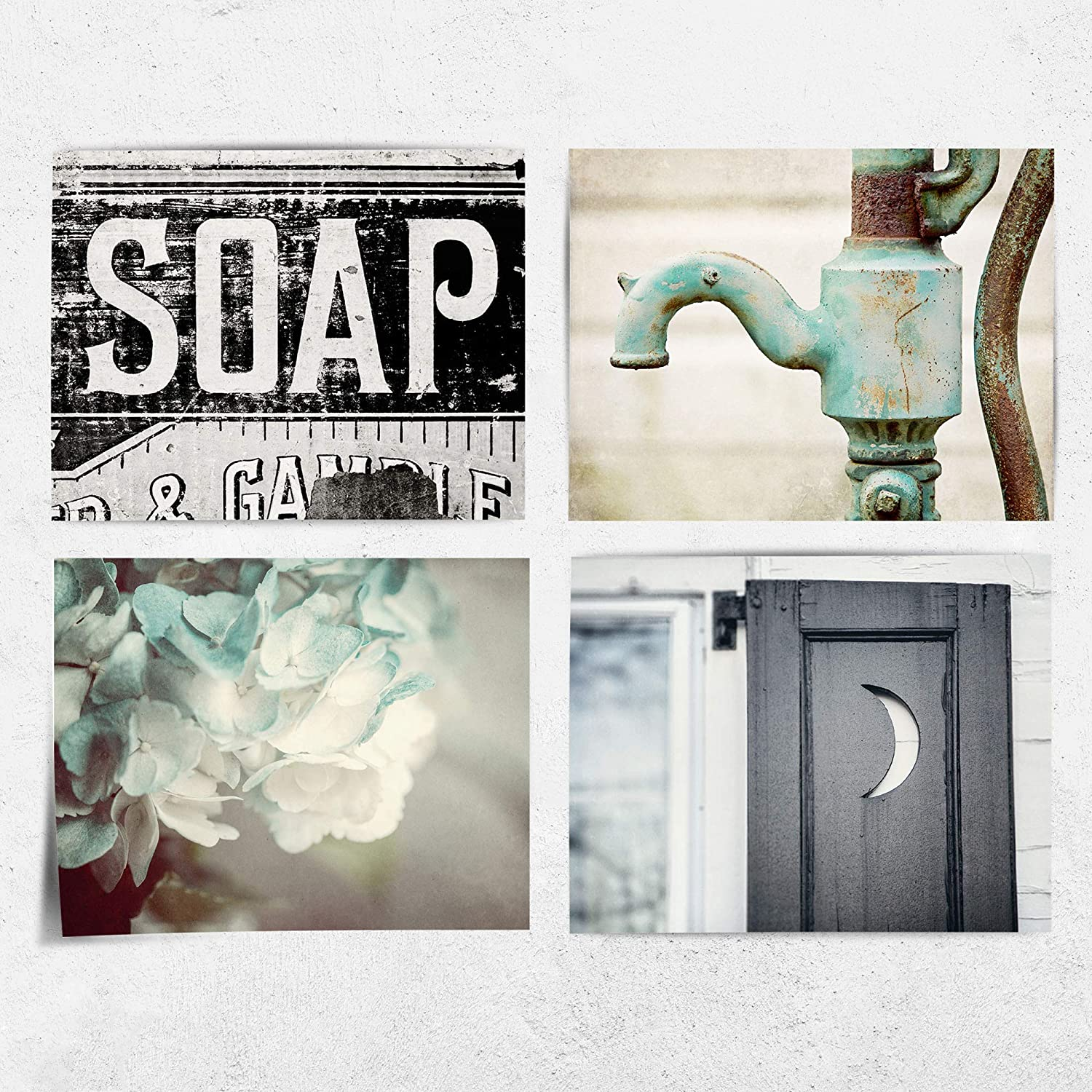 "Rustic Farmhouse Bathroom Wall Decor Set of of 10 10x10"" Prints (Not Framed).  Teal, Black, Blue Country Bath Art. (FBA1010)"