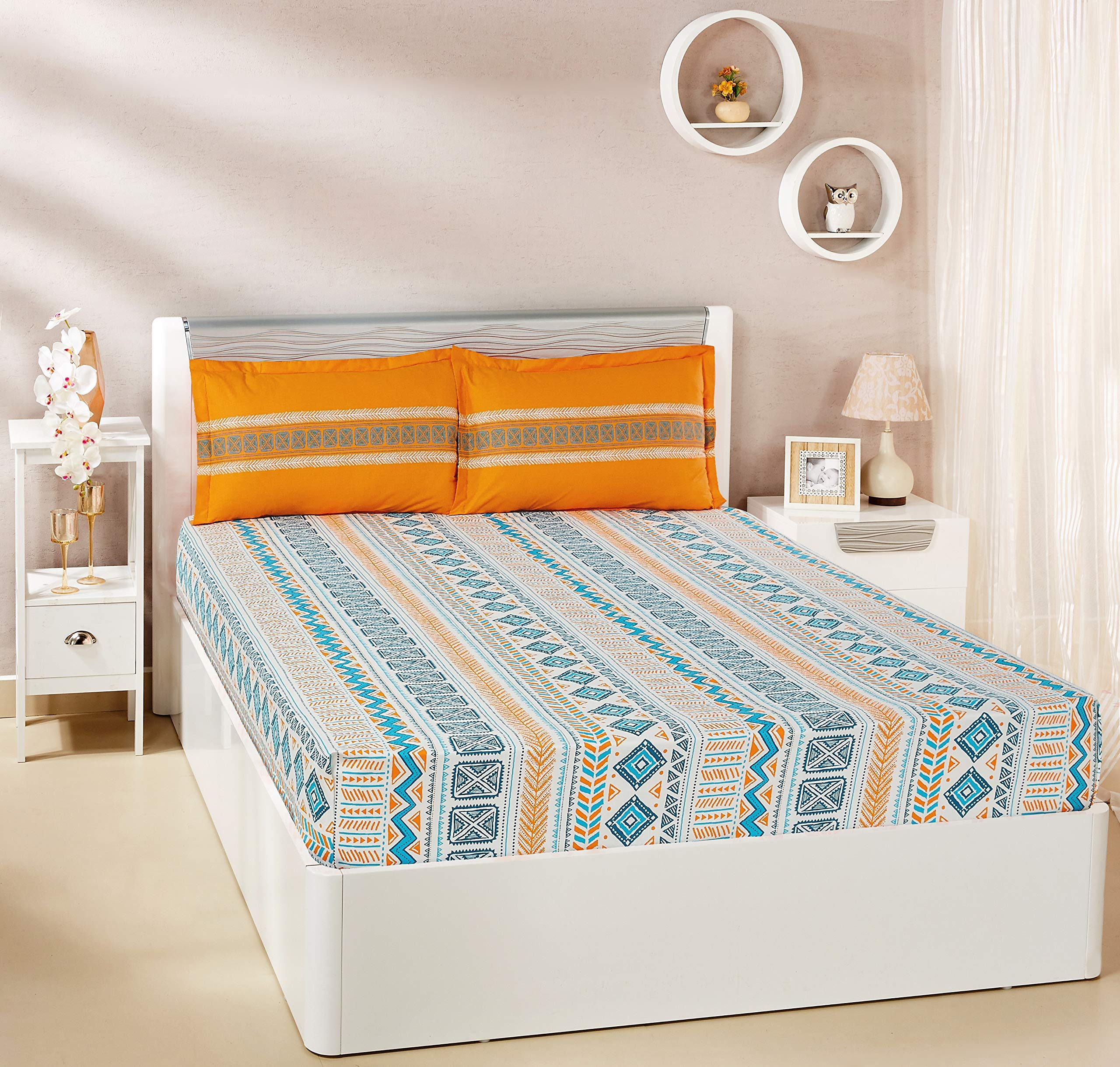 Amazon Brand - Solimo Fuzzy Strings 144 TC 100% Cotton Double Bedsheet with 2 Pillow Covers, Orange product image