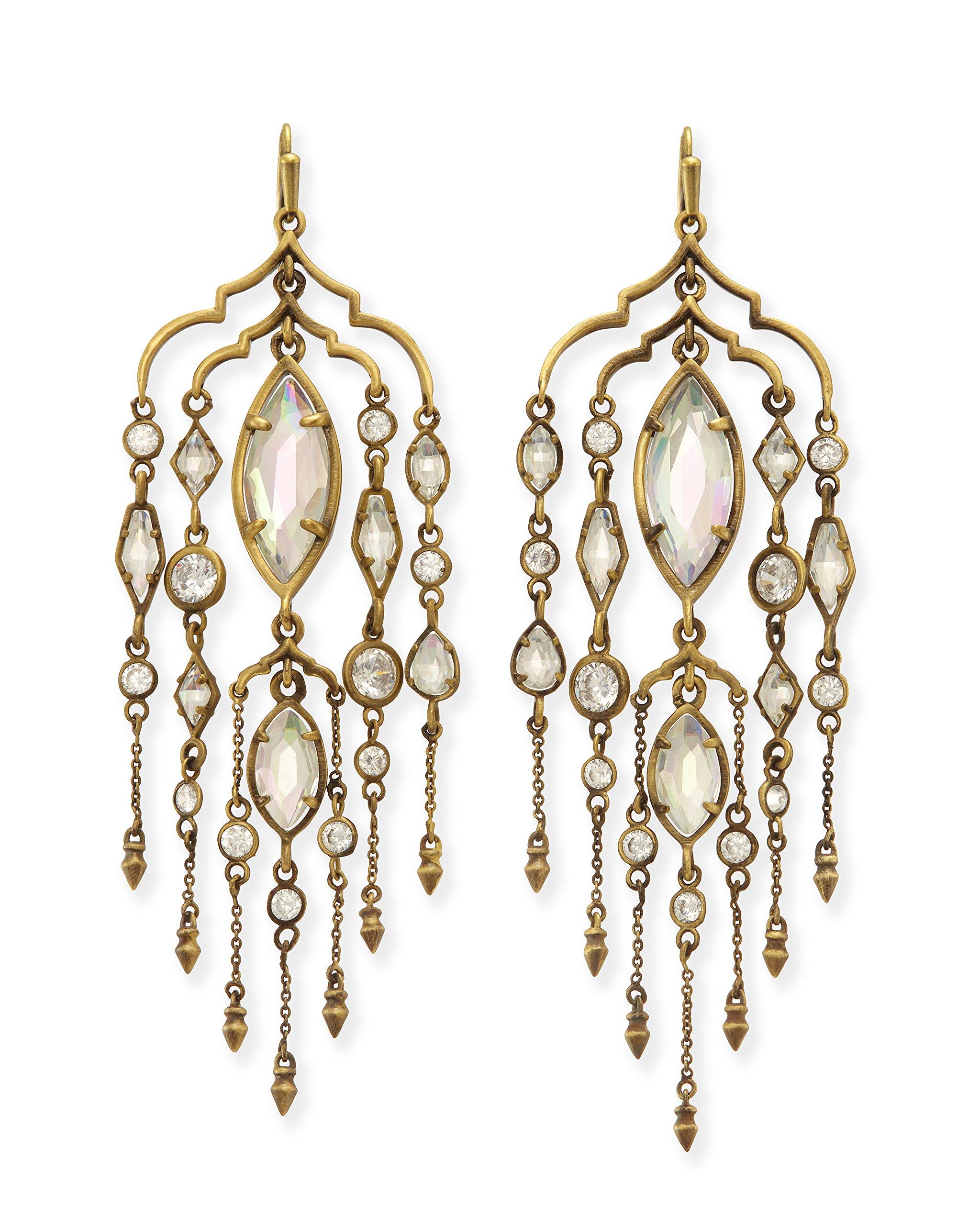 Kendra Scott Emma Shoulder Duster Earrings in Antique Brass Iridescent Glass and Cubic Zirconia by Kendra Scott