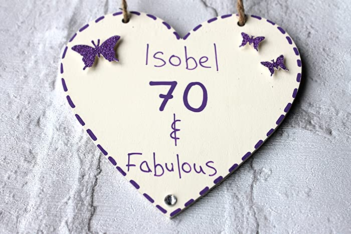 MadeAt94 Customized 70th Birthday Gift Heart Mom Sister Grandma Friend Sign