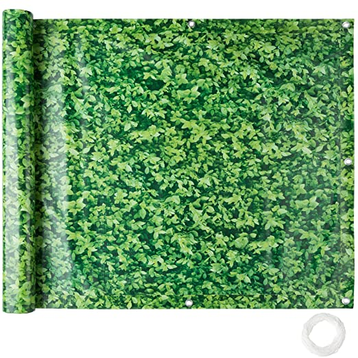 TecTake Balkonbespannung Sichtschutz Windschutz Sichtblende   Witterungsbeständig Größen (grünes Laub 0,9 x 6 m   No. 402711)
