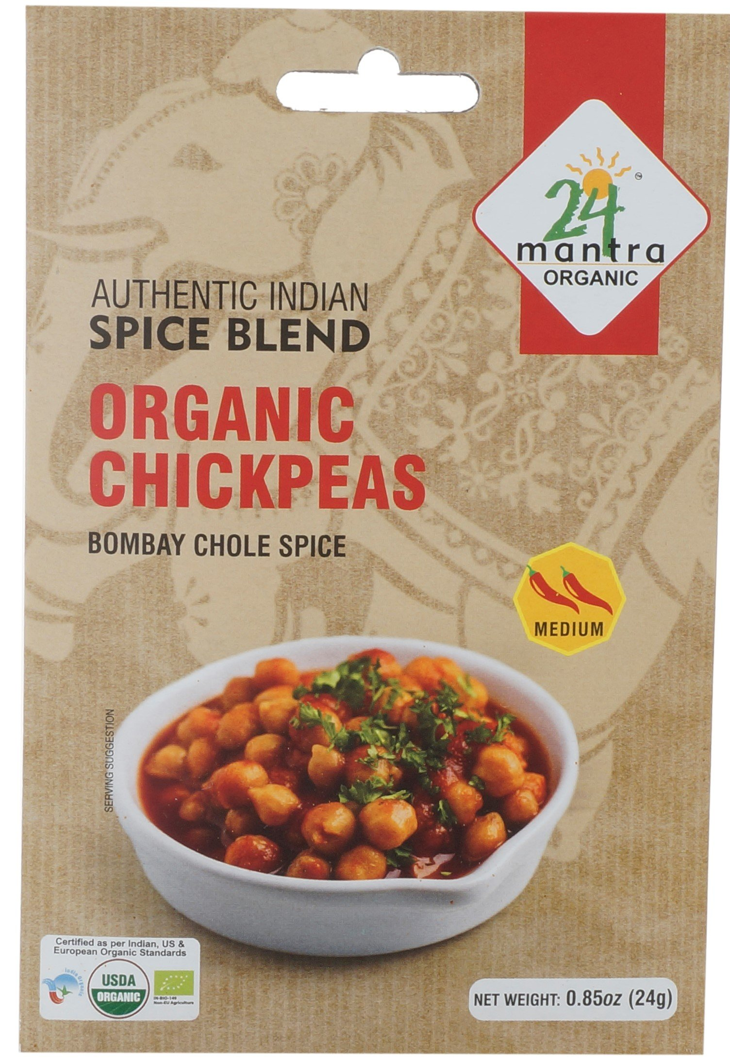Organic Chickpeas Curry - Bombay Chole Spice - 24 Gms X 4 Packs
