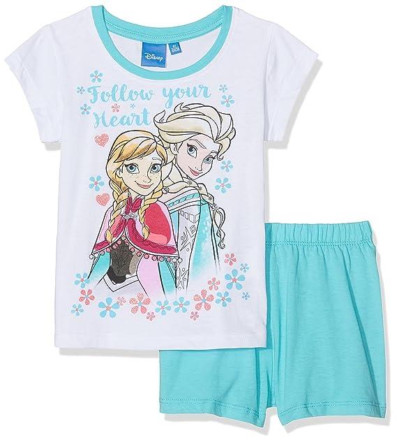 FABTASTICS Pijama Frozen Niñas, Multicolor (Türkis Weiss), 10 años (Talla del