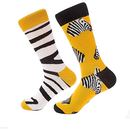 00228cf33999 Image Unavailable. Image not available for. Color: Funky Dress socks for men  novelty socks 2 Pack Patterned Cotton Crew ...