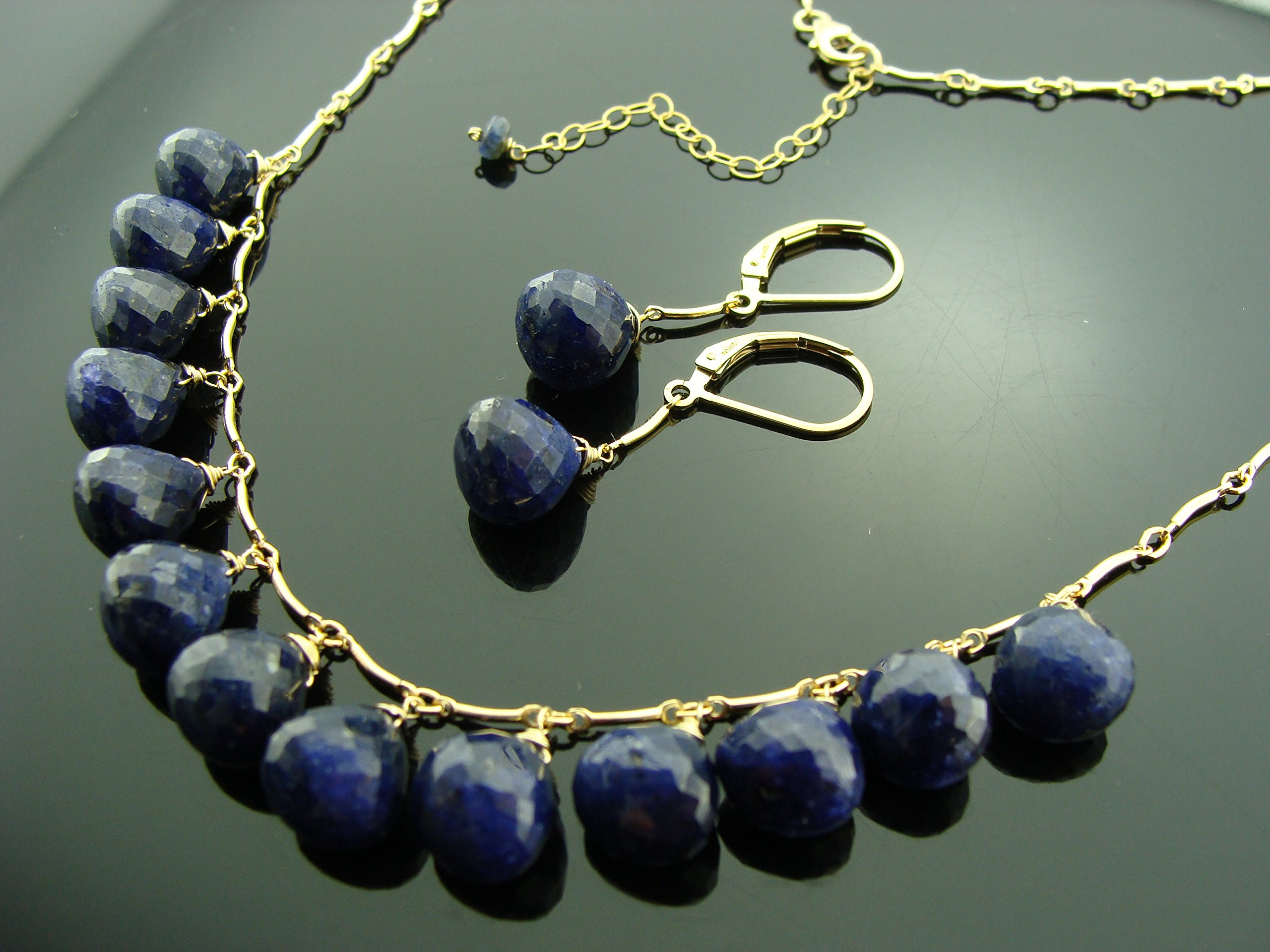 Genuine Sapphire 14K Gold Filled Gemstone Necklace and Earrings Set