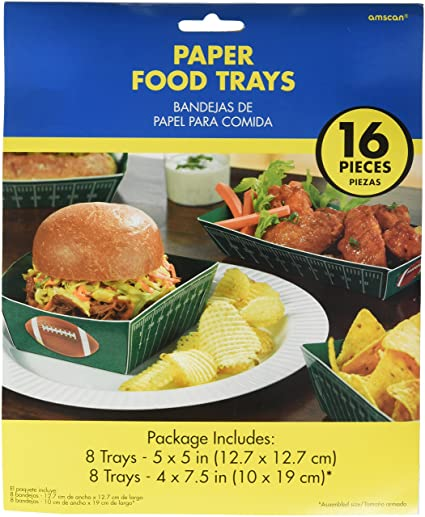 Amscan Football Frenzy Birthday Food Trays Serve Ware Paper Pack 16 Childrens Party Tableware (144