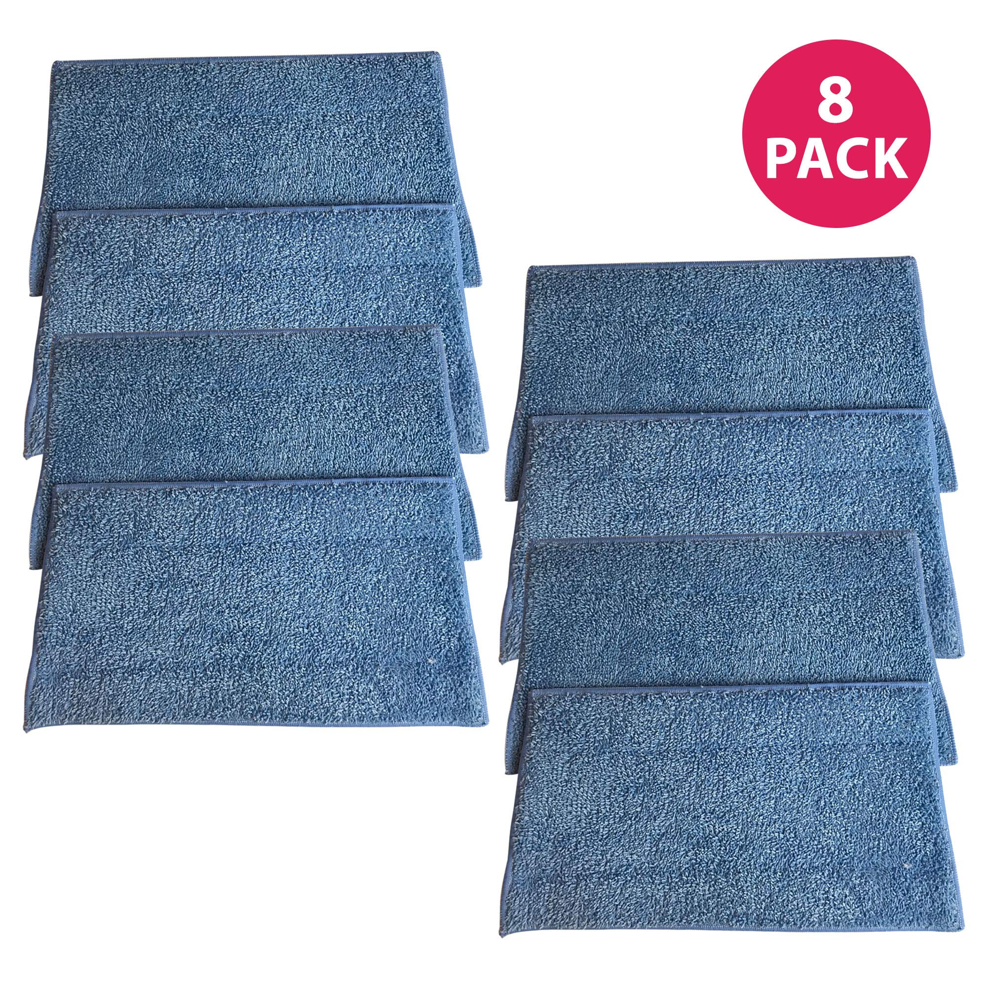 Crucial Vacuum Replacement Mop Pads - Compatible with Euroflex - Fits Euroflex EZ1 Monster Microfiber Steam Pads - Washable, Reusable Part, Models for Home, Office Universal Use - Easy Clean (8 Pack) by Crucial Vacuum