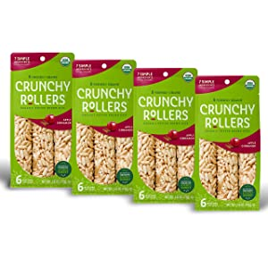 Crunchy Rice Rollers - Organic Snacks - Gluten Free - Allergy Friendly - Apple Cinnamon (4 Packs of 6 Rollers)