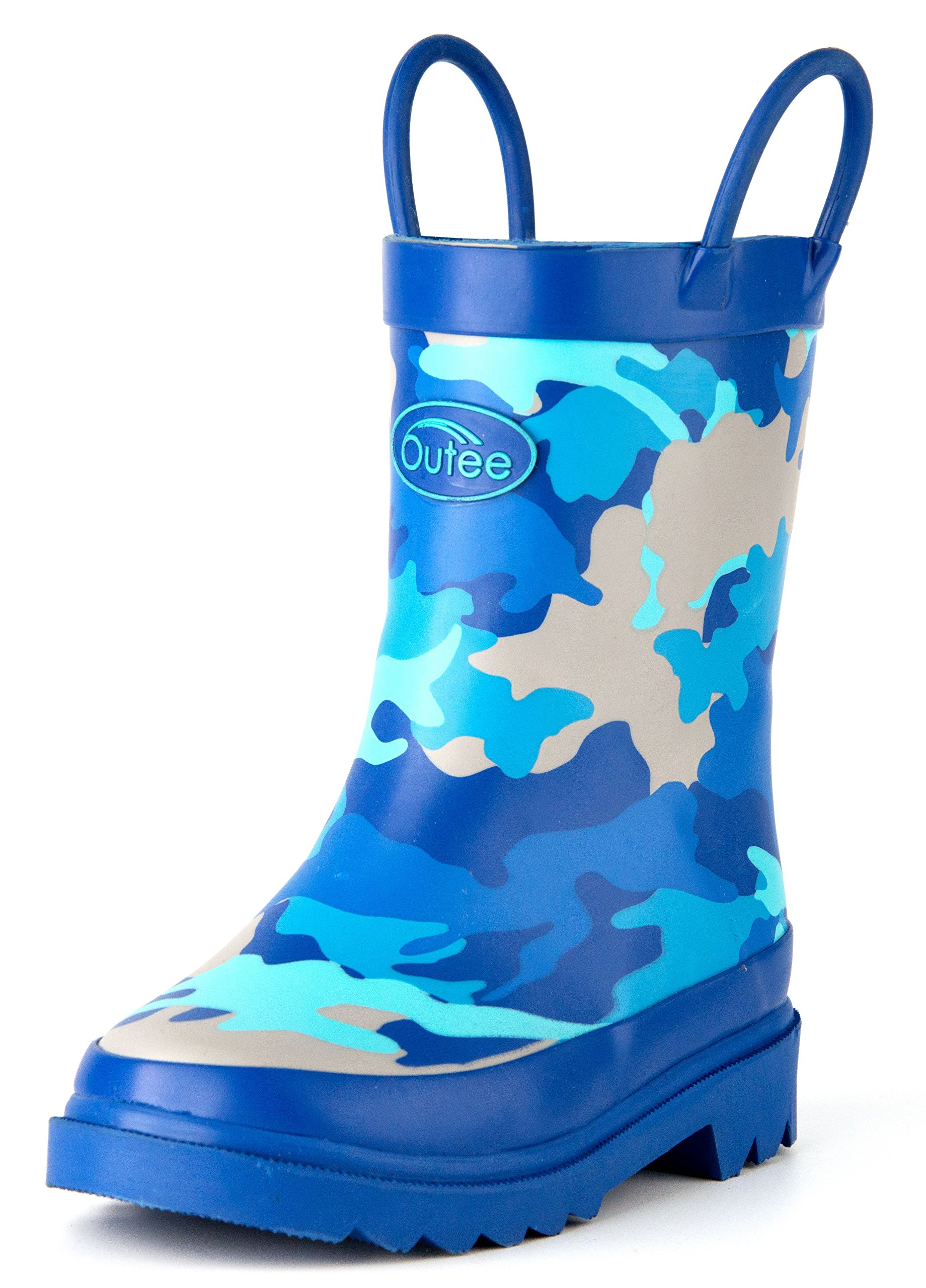 Outee Toddler Boys Kids Rubber Rain Boots Camo Waterproof Shoes Blue Cute Print with Easy-On Handles Classic Comfortable Removable Insoles Anti-Slippery Durable Sole with Grip (Size 9,Camo Blue)