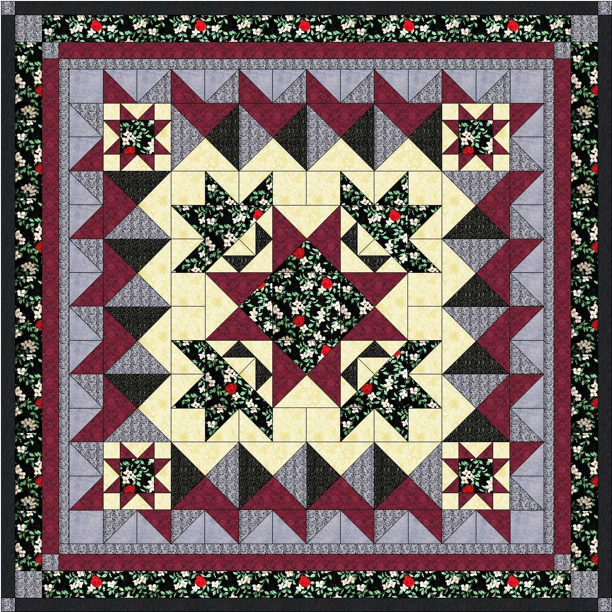 Quilt Kit Crown of Roses/Beautiful Deep Red, Black Gray QN by Material Maven