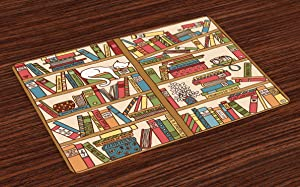 Ambesonne Cat Place Mats Set of 4, Nerd Book Lover Kitty Sleeping Over Bookshelf Library Academics Feline Boho Design, Washable Fabric Placemats for Dining Room Kitchen Table Decor, Brown Pink